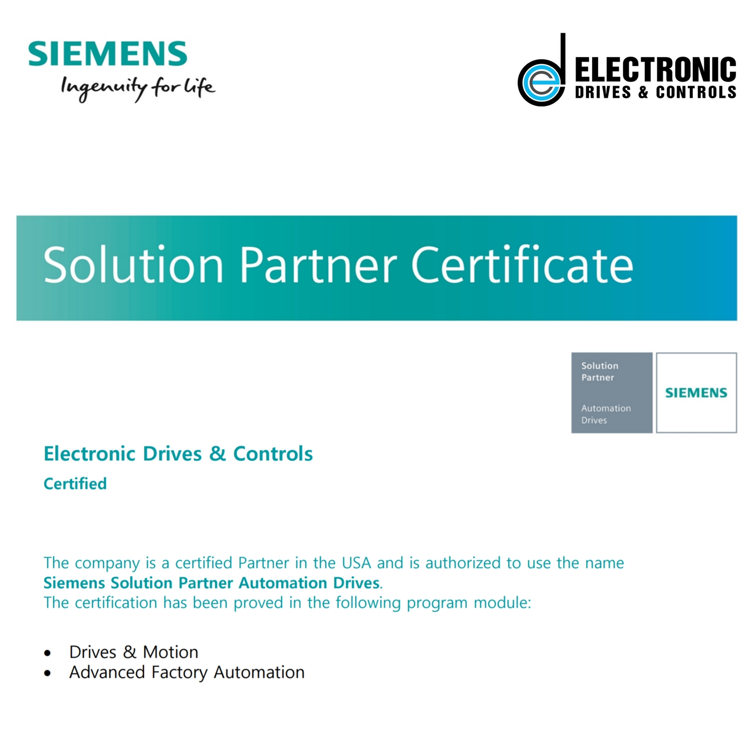 Electronic Drives and Controls Siemens