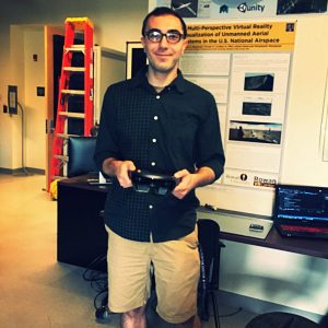Anthony at the Rowan University Virtual Reality Center